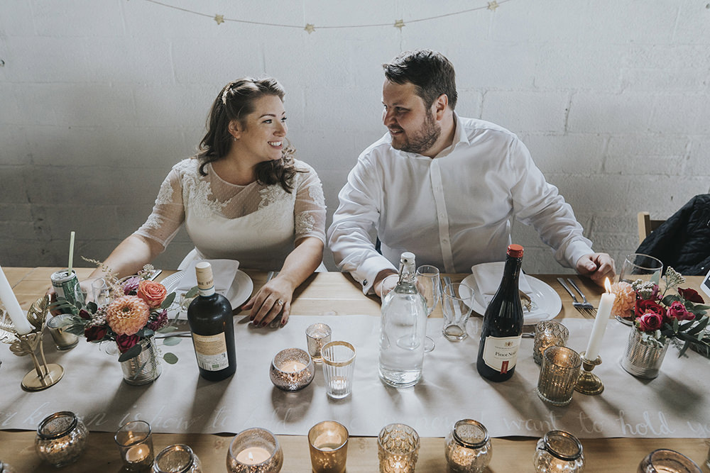 Bride Bridal Dress Gown Overlay Belt See Through Sleeves Open Shirt Groom Table Candles Votive Celestial Cow Shed Wedding Tora Baker Photography