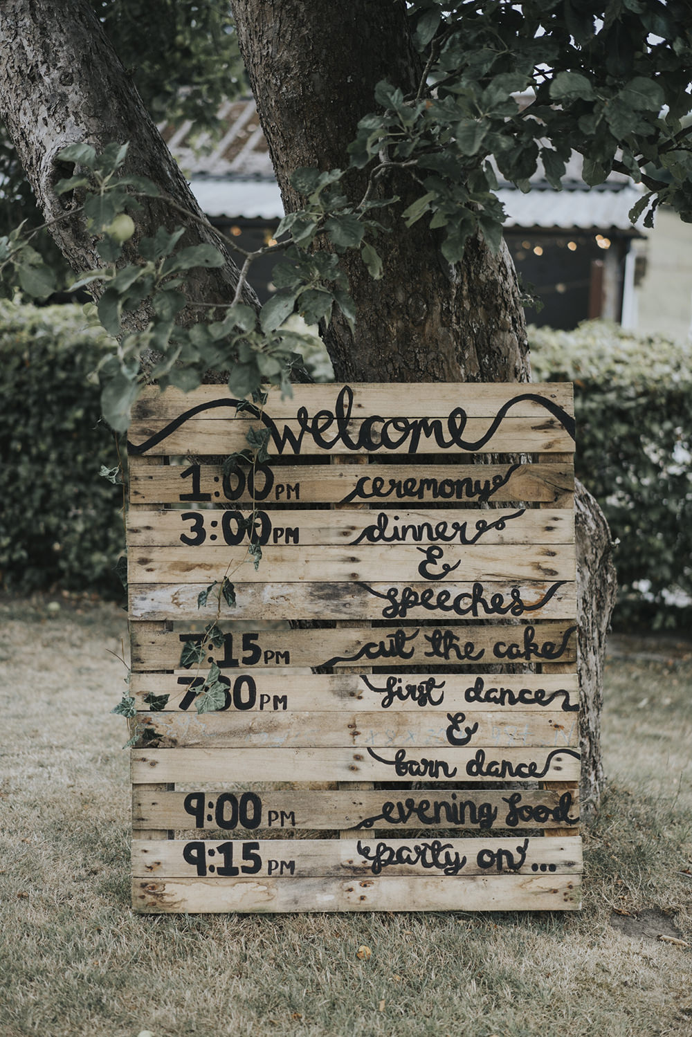 Welcome Order of Day Timings Pallet Calligraphy Celestial Cow Shed Wedding Tora Baker Photography