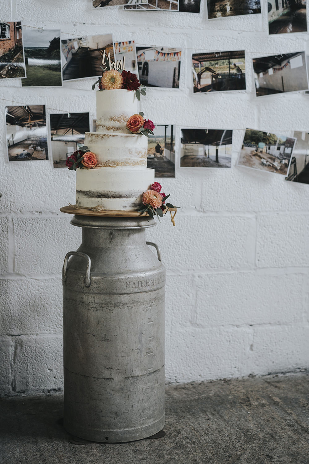 Semi Naked Buttercream Cake Dahlia Rose Coral Burgundy Milk Churn Celestial Cow Shed Wedding Tora Baker Photography