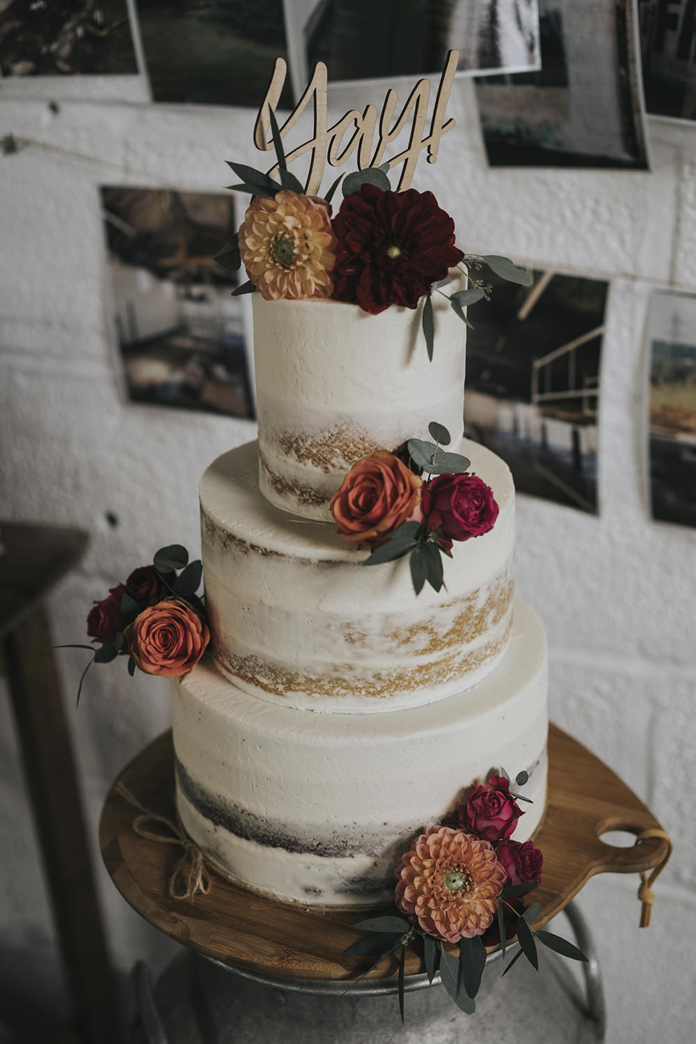 Semi Naked Buttercream Cake Laser Cut Topper Dahlia Rose Burgundy Coral Celestial Cow Shed Wedding Tora Baker Photography