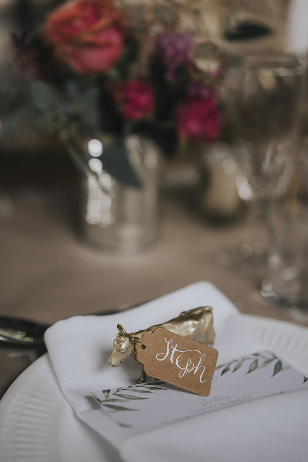Gold Cow Tag Modern Calligraphy Place Name Celestial Cow Shed Wedding Tora Baker Photography