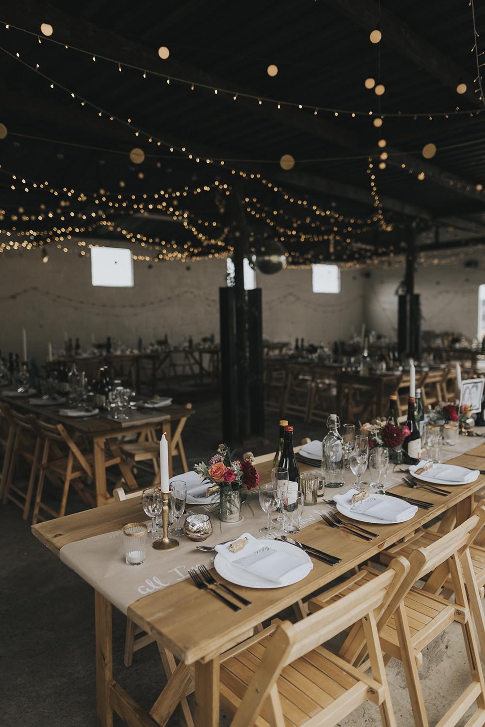 Table Runner Festoon Lighting Brass Candlesticks Celestial Cow Shed Wedding Tora Baker Photography