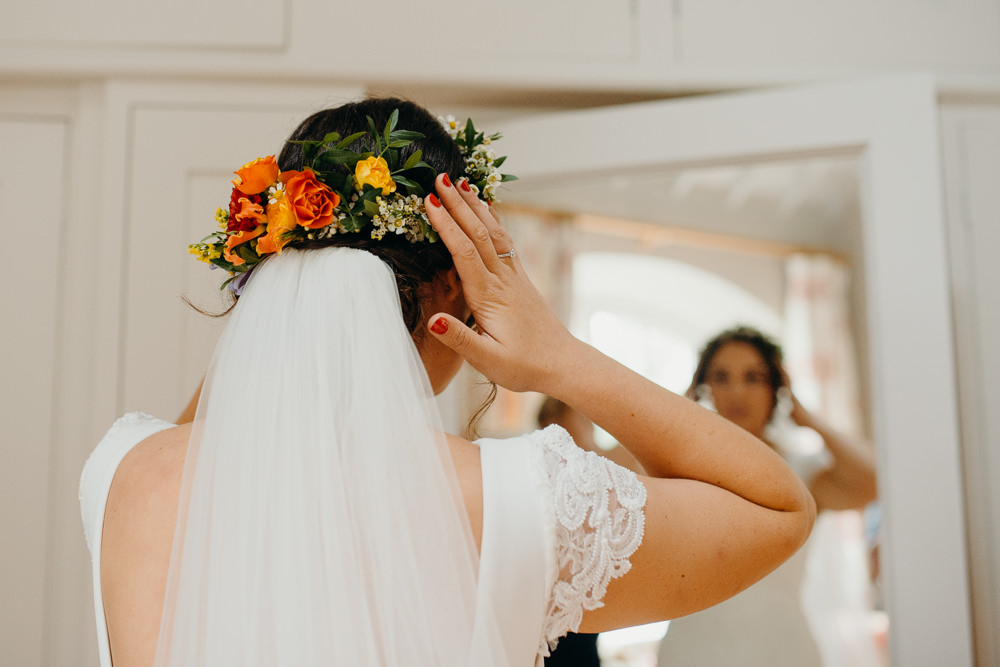 Bride Bridal Hair Flowers Veil Colourful Stretch Tent Wedding Peter Mackey Photography