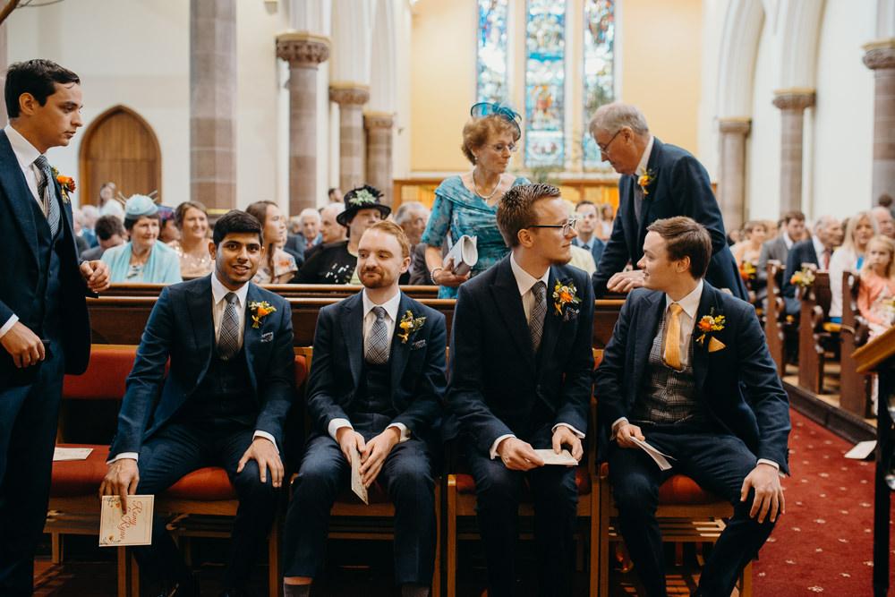 Groom Groomsmen Suits Navu Waistcoat Yellow Tie Colourful Stretch Tent Wedding Peter Mackey Photography