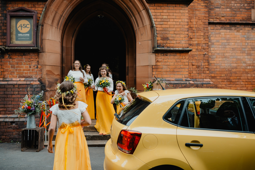 Yellow Bridesmaid Bridesmaids Dress Dresses Skirts Colourful Stretch Tent Wedding Peter Mackey Photography