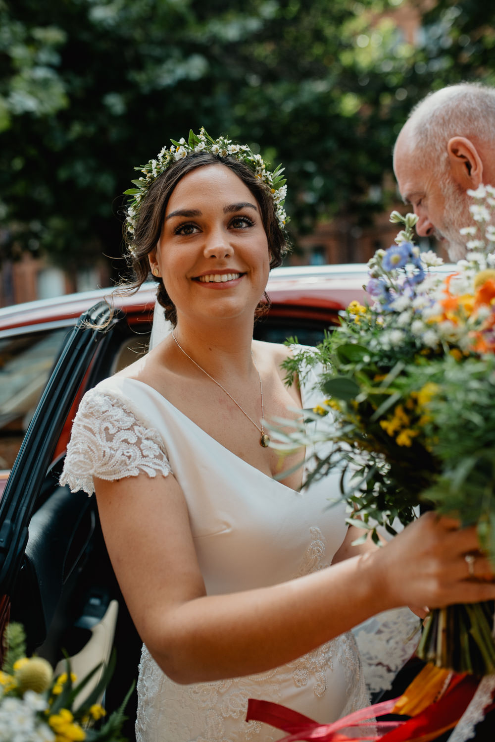Bride Bridal Make Up Flower Crown Colourful Stretch Tent Wedding Peter Mackey Photography