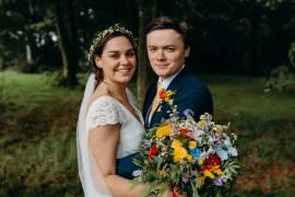 Bouquet Flowers Bride Bridal Rainbow Ribbons Wildflowers Wild Natural Colourful Stretch Tent Wedding Peter Mackey Photography
