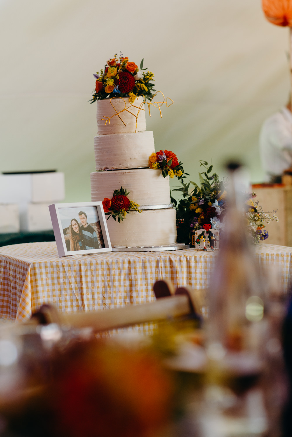 Cake Flowers Floral Colourful Stretch Tent Wedding Peter Mackey Photography