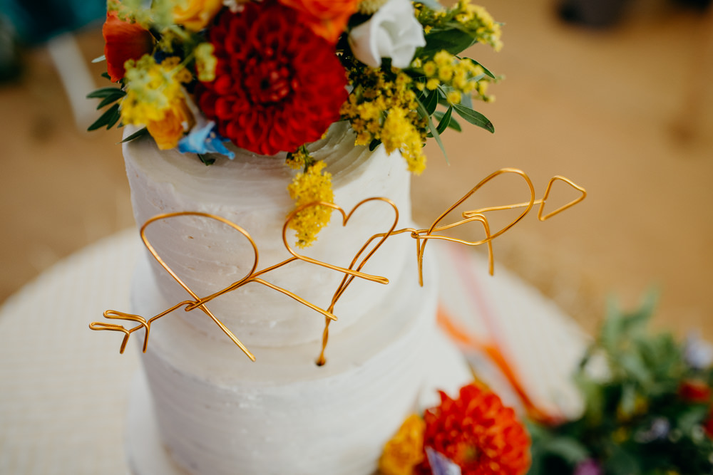 Wire Cake Topper Colourful Stretch Tent Wedding Peter Mackey Photography