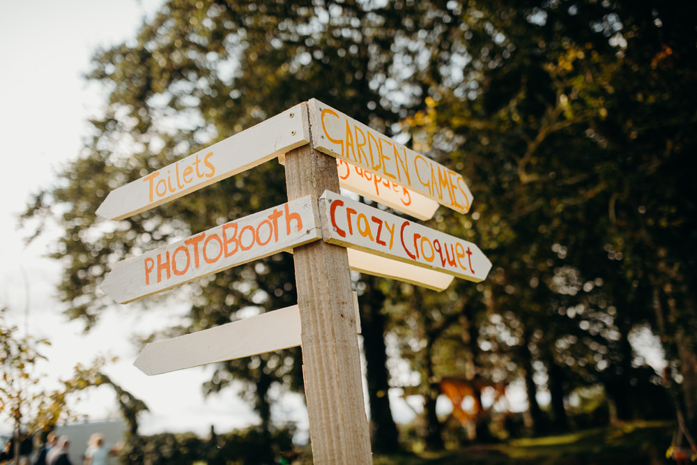 Signpost Sign Signage Colourful Stretch Tent Wedding Peter Mackey Photography