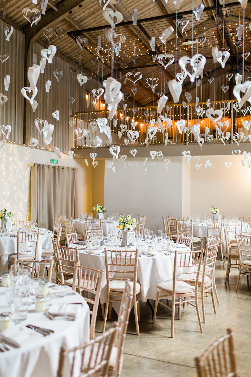 White Paper Heart Decor Hanging Creative Summer Wedding Gemma Giorgio Photography