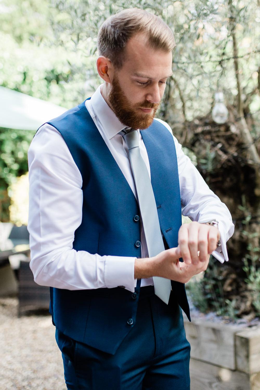 Blue Waistcoat Groom Creative Summer Wedding Gemma Giorgio Photography