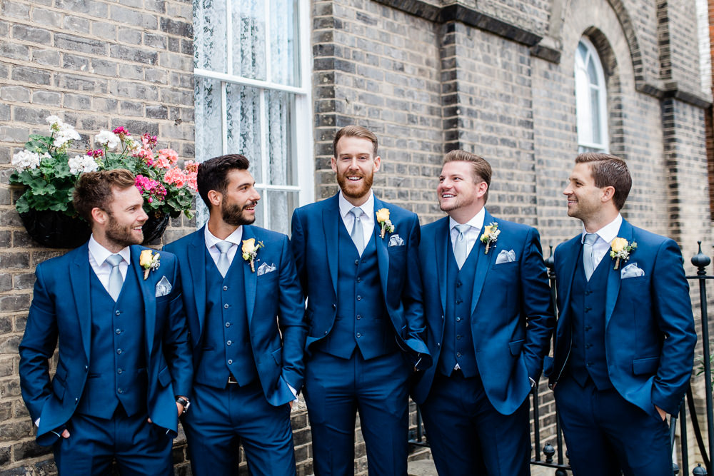 Groom Groomsmen Blue Three Piece Suit Creative Summer Wedding Gemma Giorgio Photography
