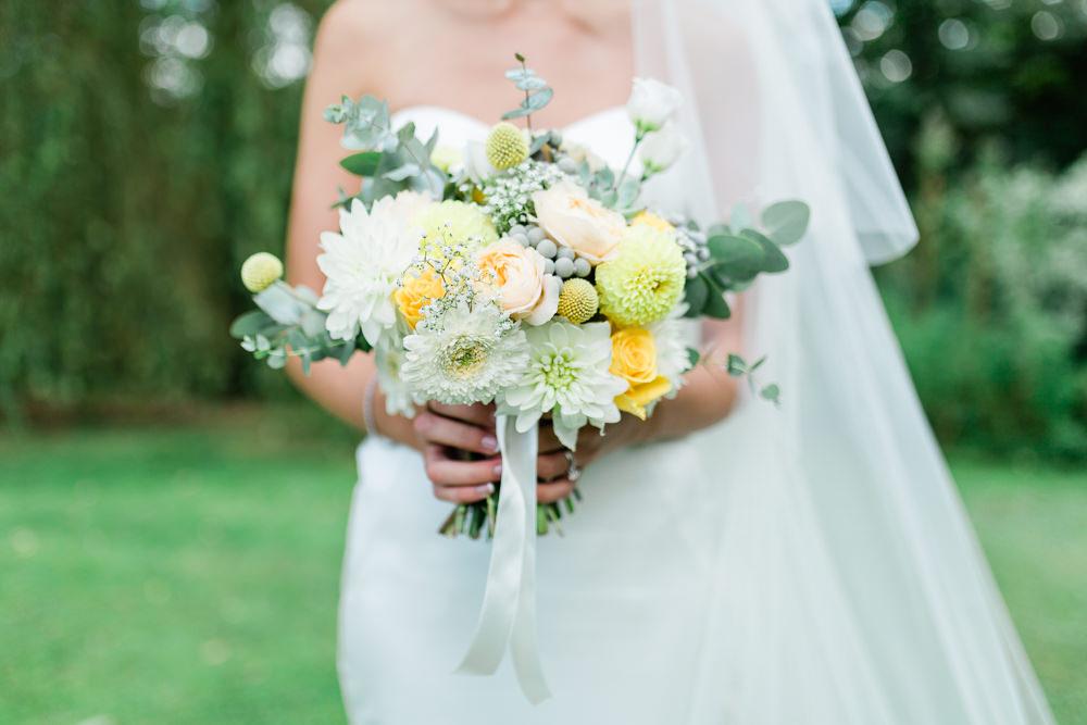 Peach Yellow Flowers Floral Bouquet Eucalyptus Ribbon Creative Summer Wedding Gemma Giorgio Photography