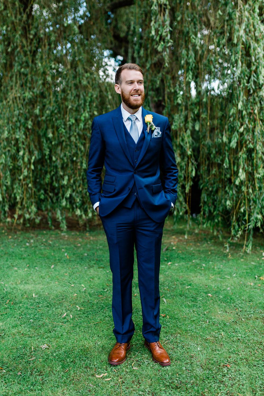 Blue Suit Three Piece Waistcoat Groom Creative Summer Wedding Gemma Giorgio Photography
