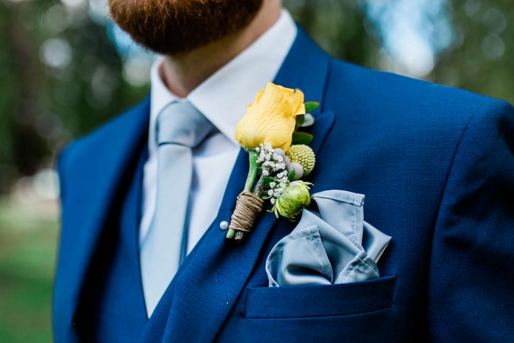 Yellow Rose Buttonhole Gypsophila Twine Blue Silk Pocket Square Creative Summer Wedding Gemma Giorgio Photography