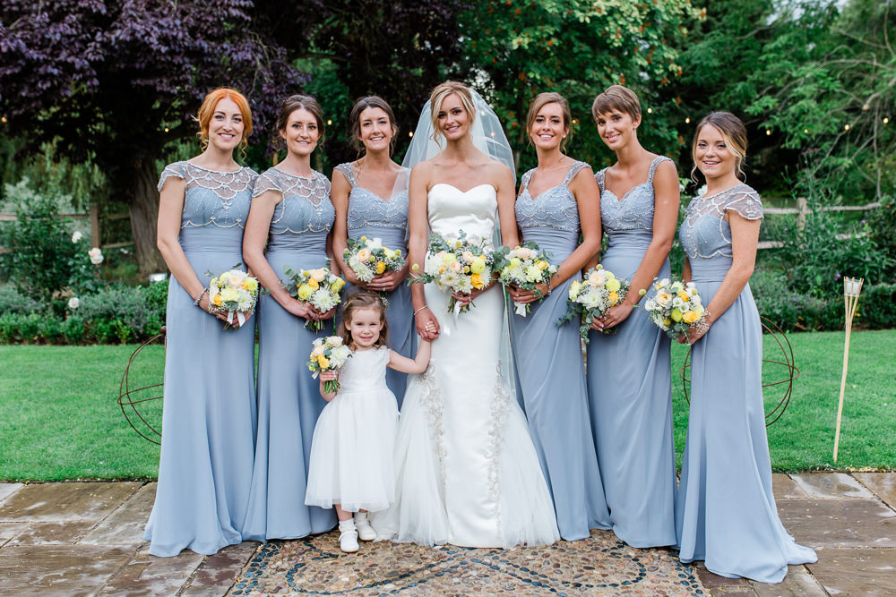 Bride Bridal Sweetheart Neckline Fit And Flare Fishtail Dress Gown Veil Bouquet Steel Grey Blue Bridesmaids Beaded Flower Girl White Creative Summer Wedding Gemma Giorgio Photography