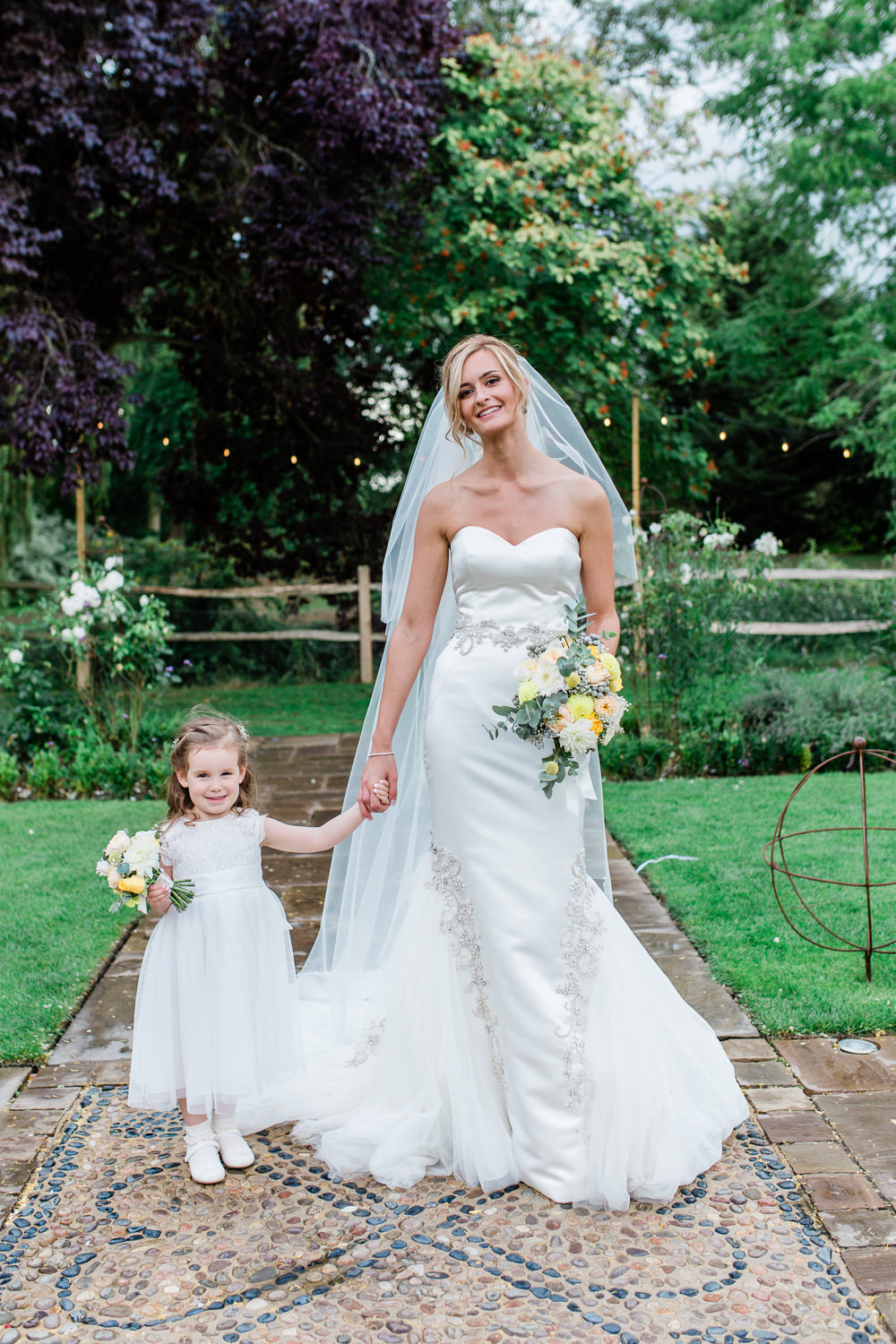 Bride Bridal Sweetheart Neckline Fit And Flare Fishtail Dress Gown Flower Girl White Veil Bouquet Creative Summer Wedding Gemma Giorgio Photography