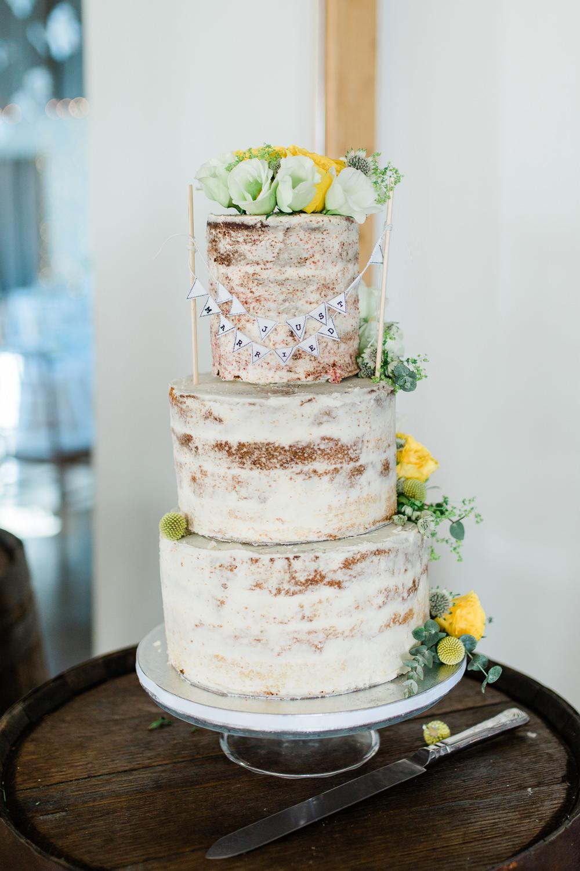 Semi Naked Buttercream Cake Bunting Flower Creative Summer Wedding Gemma Giorgio Photography