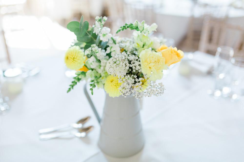 Jug Flowers Yellow Gypsophila Creative Summer Wedding Gemma Giorgio Photography