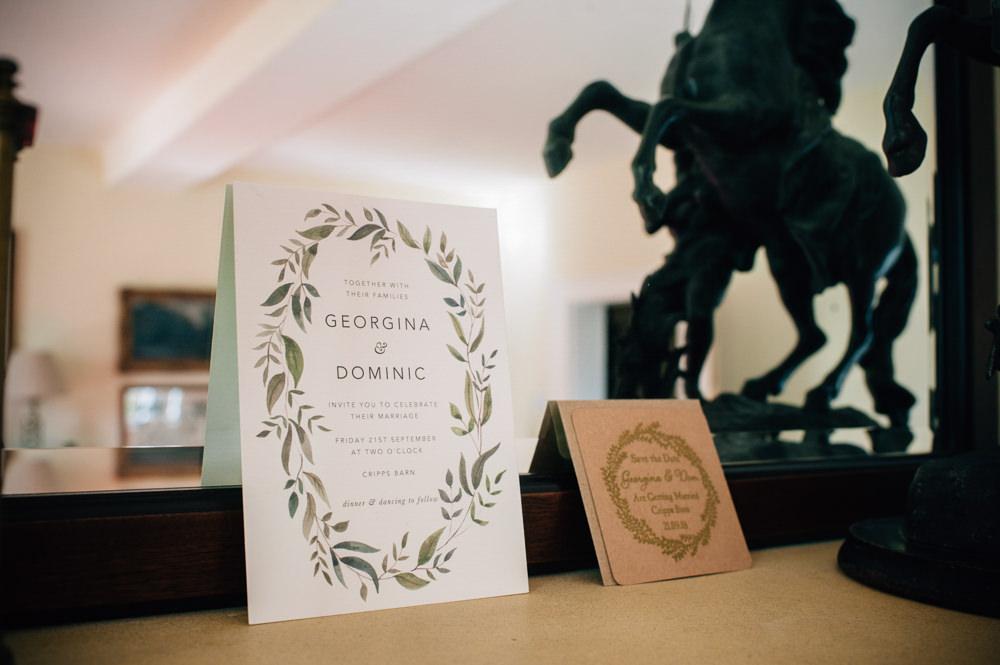 Botanical Leaf Greenery Wreath Stationery Invite Invitation Cripps Barn Wedding Isobel Murphy Photography