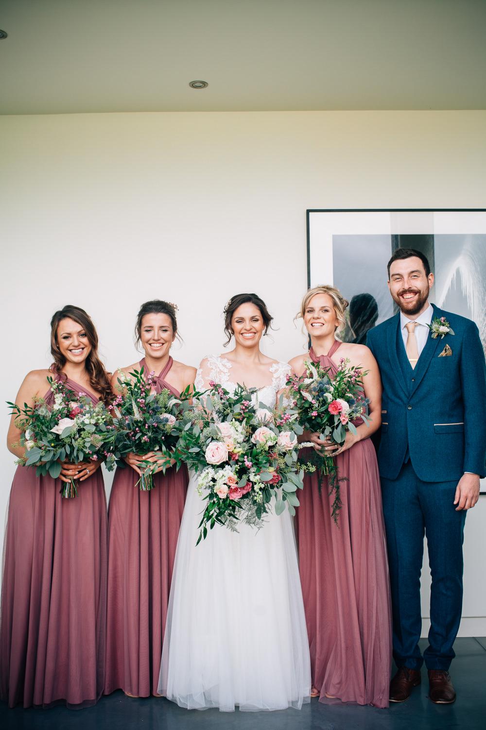 Long Maxi Dusky Pink Bridesmaid Bridesmaids Dress Dresses Multiway Cripps Barn Wedding Isobel Murphy Photography