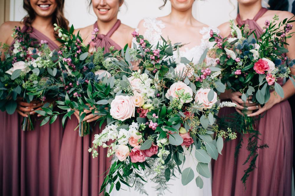 Bouquet Flowers Bride Bridal Pink Blush White Greenery Foliage Rose Berries Bridesmaids Cripps Barn Wedding Isobel Murphy Photography