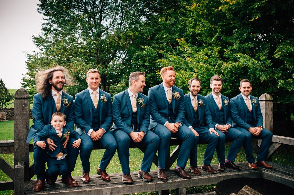 Groom Groomsmen Suit Blue Tweed Cripps Barn Wedding Isobel Murphy Photography