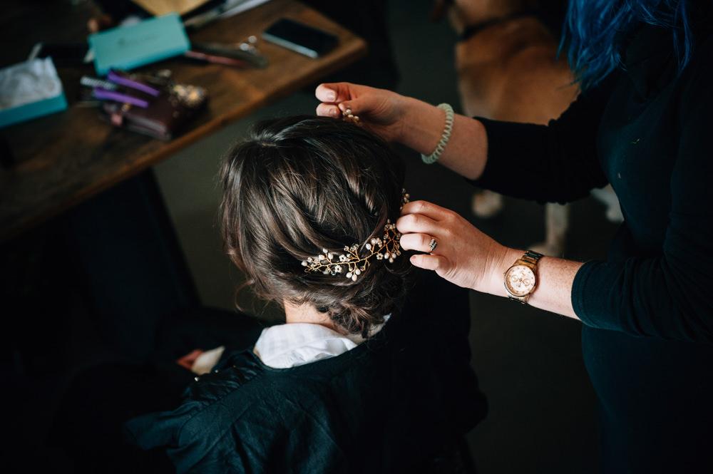 Bridal Bride Hair Style Up Do Vine Accessory Cripps Barn Wedding Isobel Murphy Photography