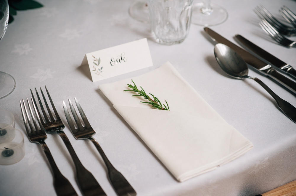 Rosemary Place Setting Name Card Cripps Barn Wedding Isobel Murphy Photography