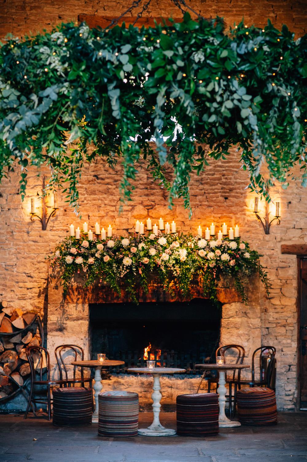 Greenery Foliage Hoop Chandelier Cripps Barn Wedding Isobel Murphy Photography