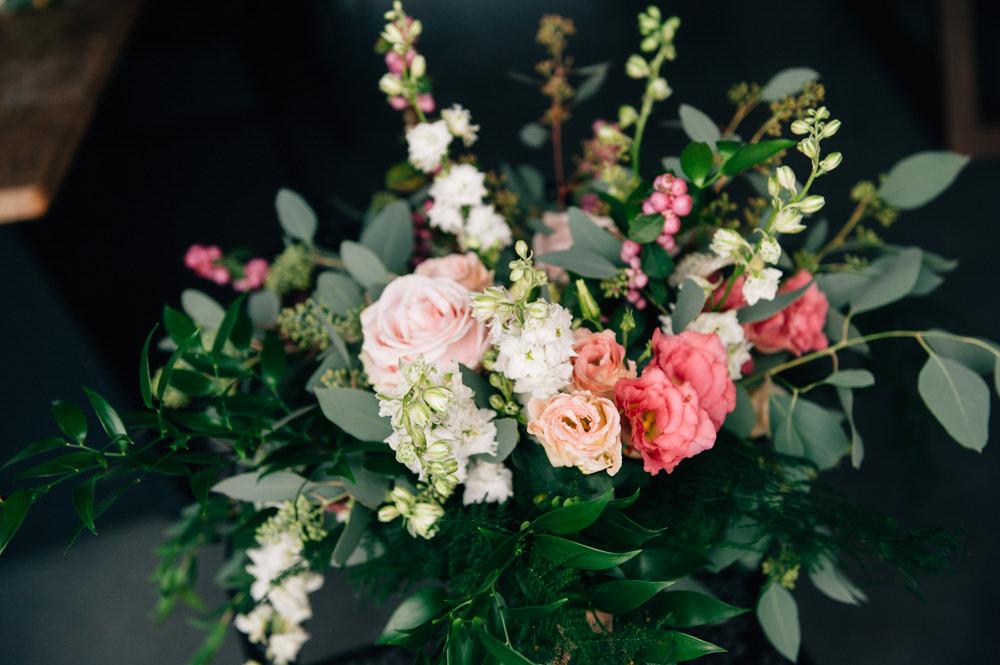 Bouquet Flowers Bride Bridal Pink Blush White Greenery Foliage Rose Berries Cripps Barn Wedding Isobel Murphy Photography