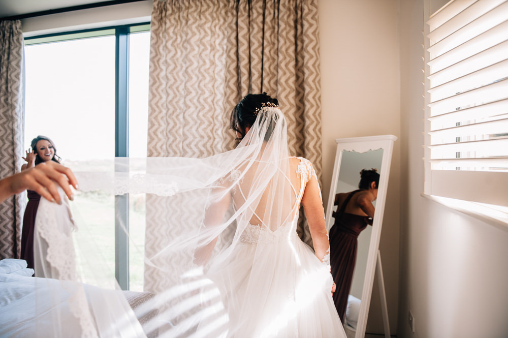 Dress Gown Bride Bridal Sheer Open Back Lace Sleeves Veil Cripps Barn Wedding Isobel Murphy Photography