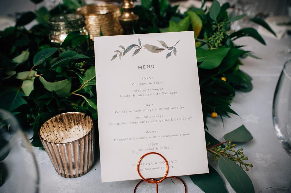 Botanical Leaf Greenery Wreath Stationery Menu Cripps Barn Wedding Isobel Murphy Photography