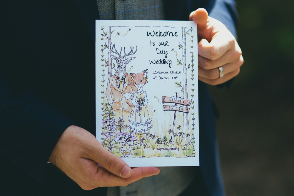 Illustrated Stationery Order of Service Damerham Village Hall Wedding Lisa-Marie Halliday Photography