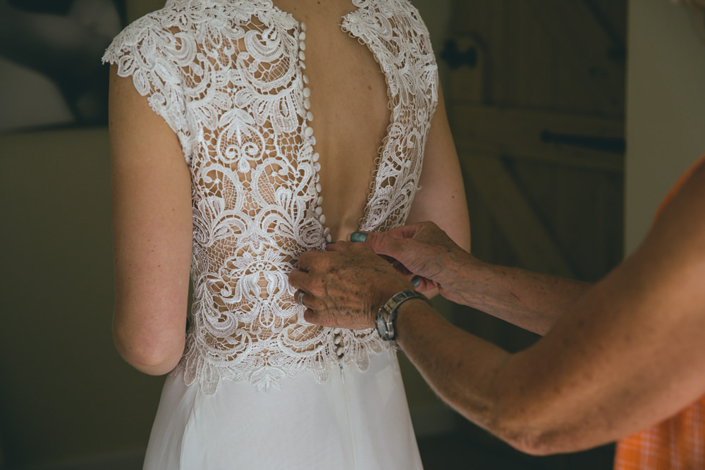 Dress Gown Bride Bridal Lace Top Back Damerham Village Hall Wedding Lisa-Marie Halliday Photography