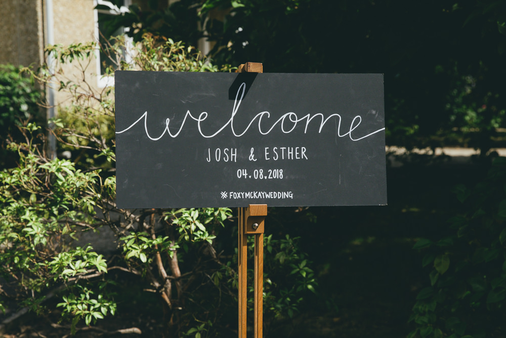 Chalk Black Board Sign Welcome Calligraphy Damerham Village Hall Wedding Lisa-Marie Halliday Photography