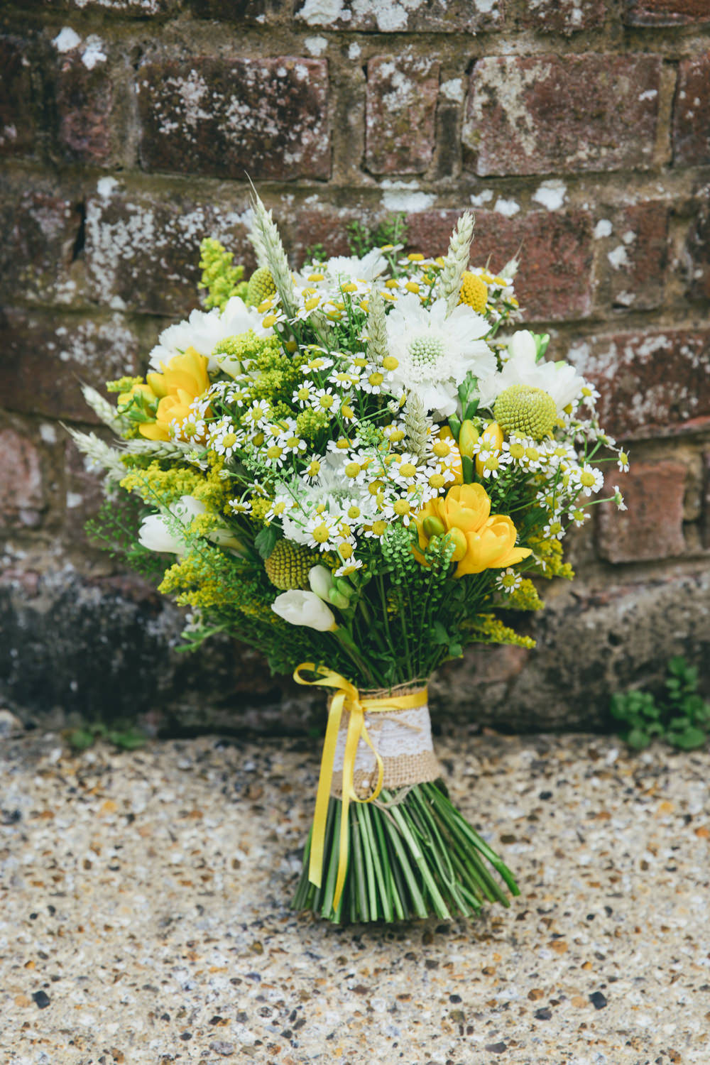 Bouquet Flowers Bride Bridal Yellow Daisy Daisies Damerham Village Hall Wedding Lisa-Marie Halliday Photography