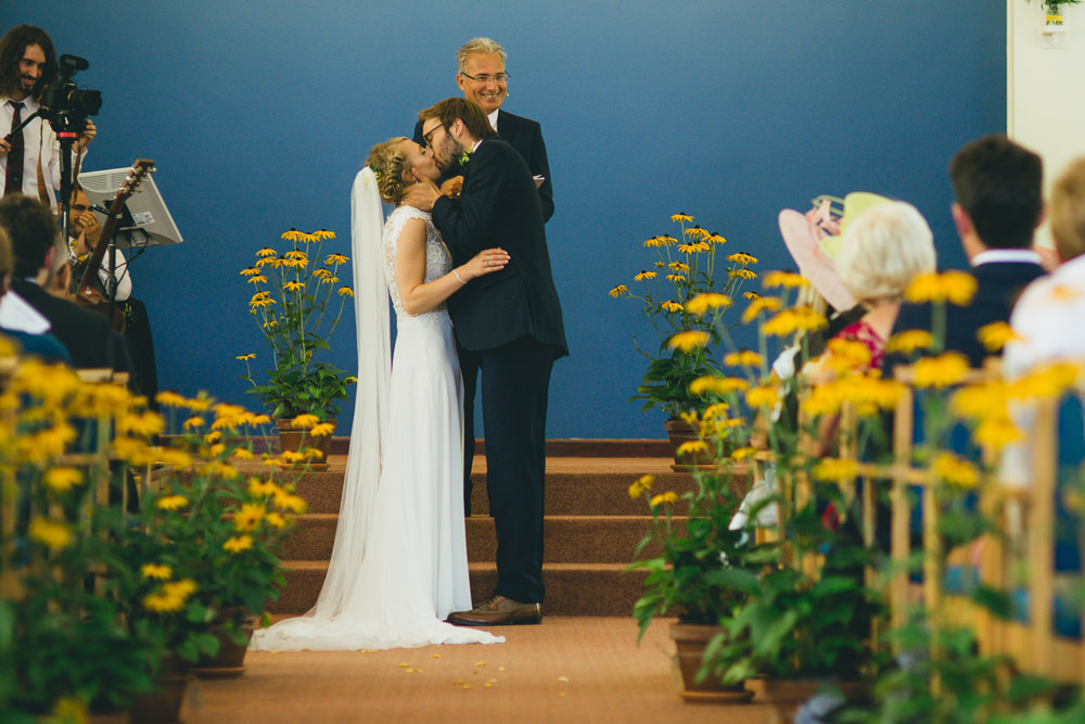 Yellow Flowers Aisle Ceremony Damerham Village Hall Wedding Lisa-Marie Halliday Photography