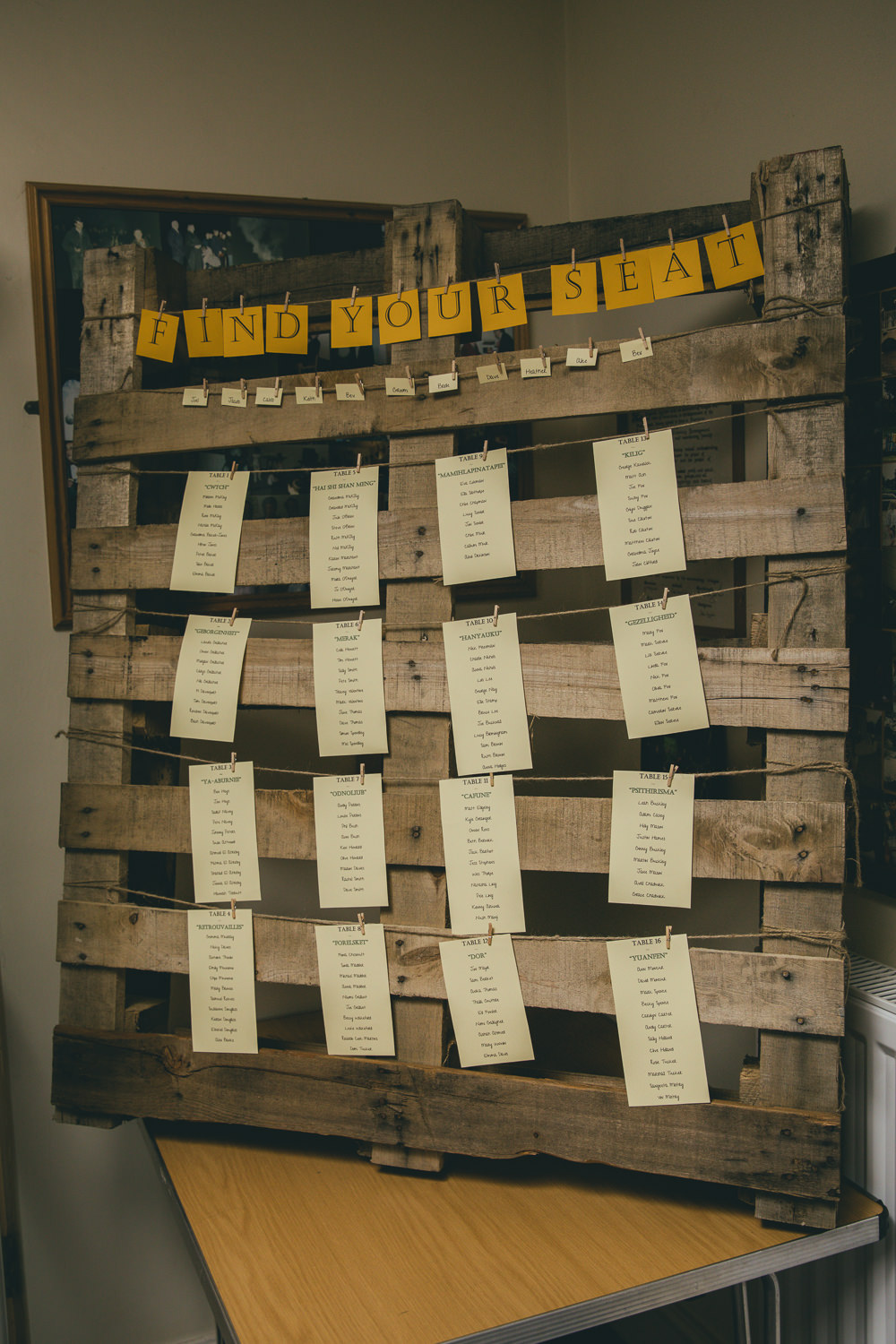 Seating Plan Table Chart Wooden Pallet Damerham Village Hall Wedding Lisa-Marie Halliday Photography