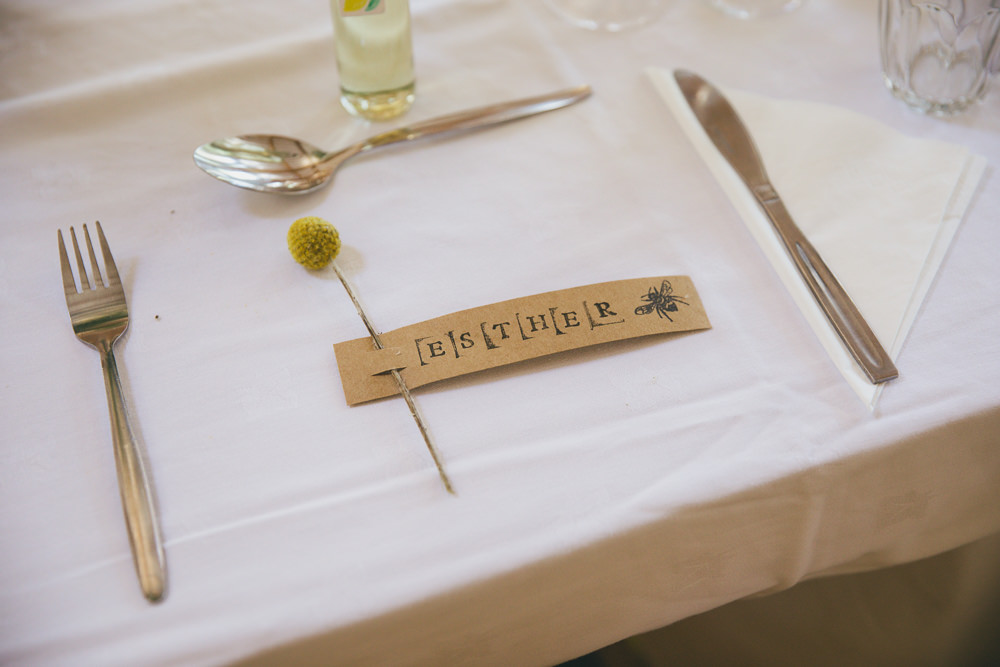 Stamped Name Tag Place Name Damerham Village Hall Wedding Lisa-Marie Halliday Photography