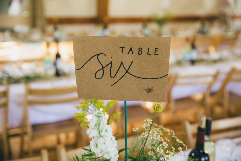 Calligraphy Table Number Damerham Village Hall Wedding Lisa-Marie Halliday Photography