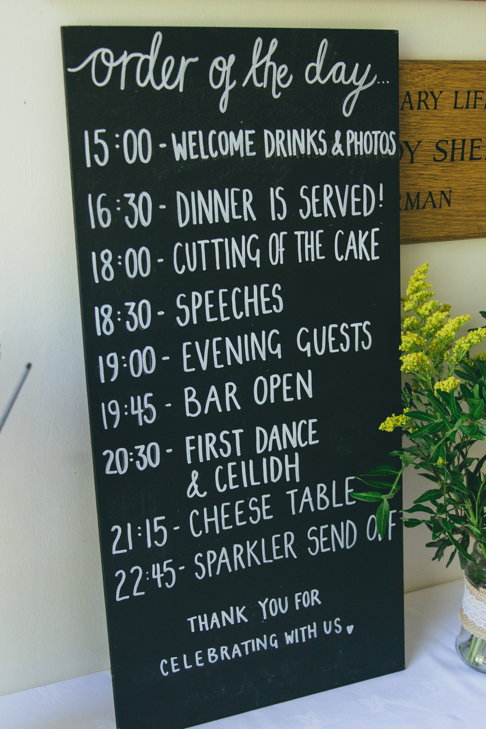 Black Chalk Board Sign Order Day Damerham Village Hall Wedding Lisa-Marie Halliday Photography