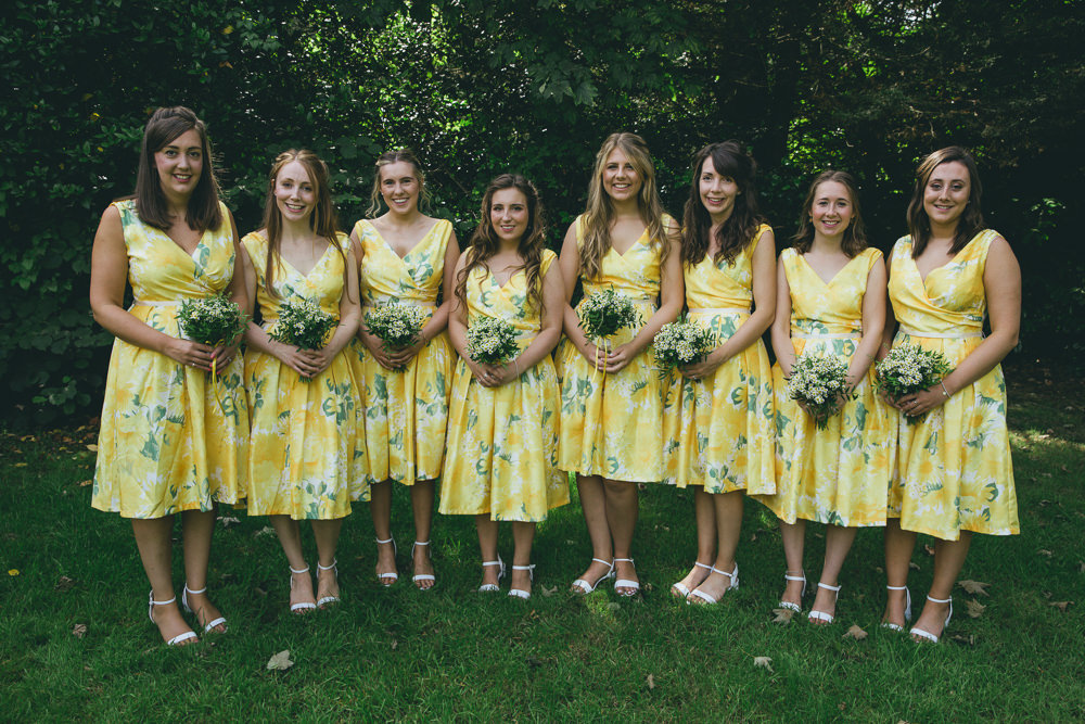 Short Yellow Floral Bridesmaids Bridesmaid Dress Dresses Damerham Village Hall Wedding Lisa-Marie Halliday Photography
