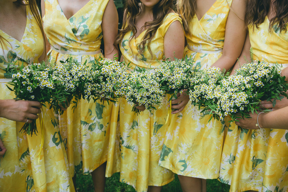 Short Yellow Floral Bridesmaids Bridesmaid Dress Dresses Daisy Daisies Bouquet Flowers Damerham Village Hall Wedding Lisa-Marie Halliday Photography
