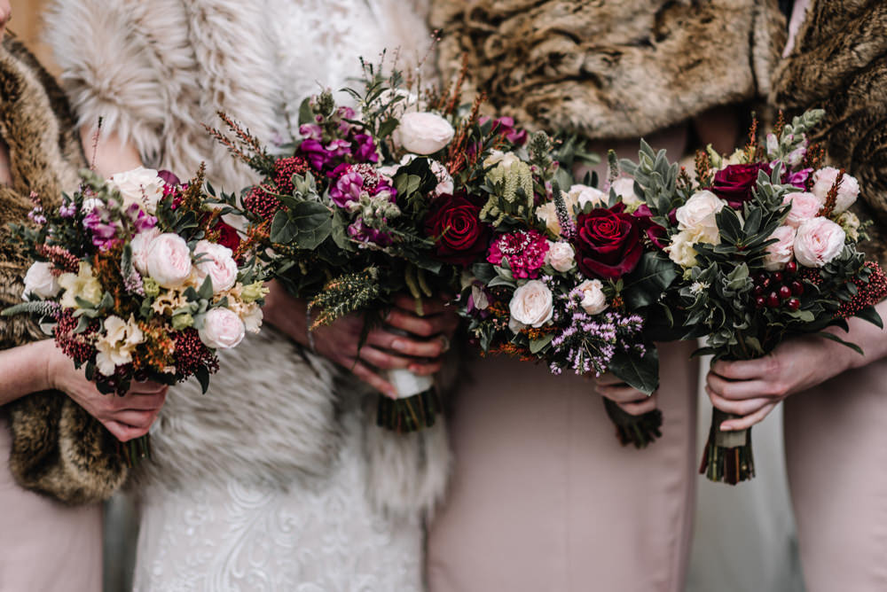 Bouquet Flowers Bride Bridal Burgundy Greenery Foliage Blush Rose Bridesmaids Dewsall Court Wedding Oobaloos Photography