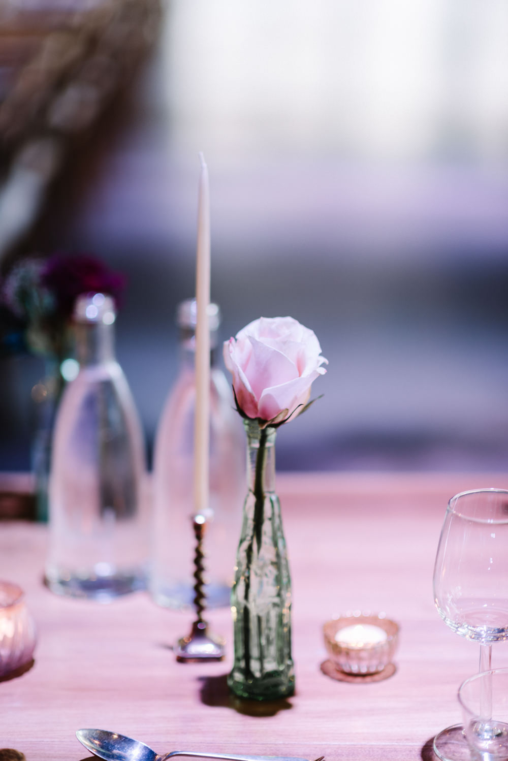 Pink Rose Bottle Flowers Dewsall Court Wedding Oobaloos Photography