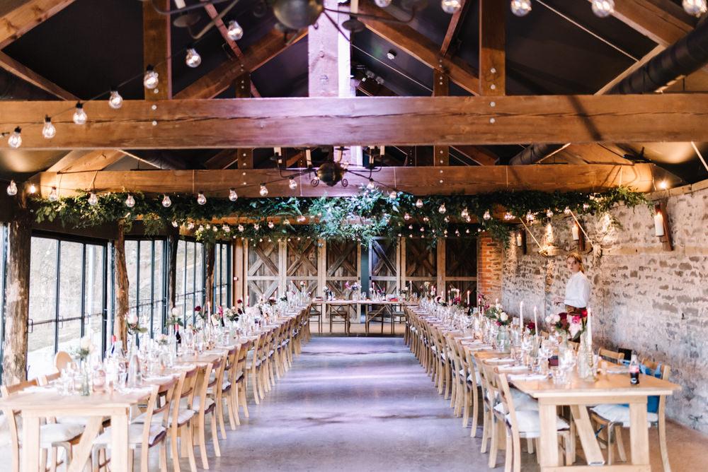 Barn Festoon Lights Greenery Foliage Decor Lights Lighting Dewsall Court Wedding Oobaloos Photography