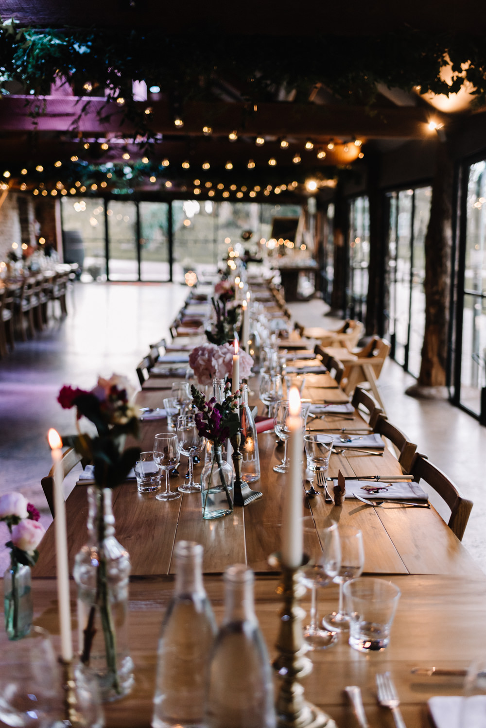 Long Tables Decor Candles Flowers Festoon Lights Dewsall Court Wedding Oobaloos Photography