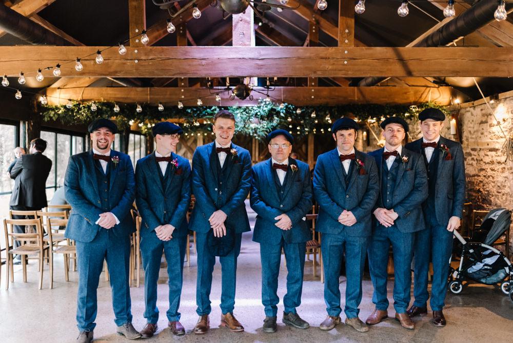 Groom Groomsmen Suits Bow Ties Flat Caps Baker Boy Hats Waistcoats Peaky Blinders Dewsall Court Wedding Oobaloos Photography